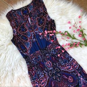 Adrianna Papell royal blue patterned maxi dress